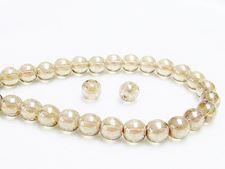Image de 6x6 mm, rondes, perles de verre pressé tchèque, brun topaze Colorado pâle, transparent, chatoyant