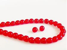 Picture of 6x6 mm, round, Czech druk beads, ruby red, transparent, crackled
