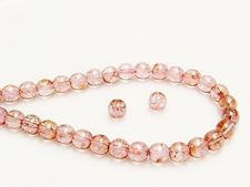 Picture of 6x6 mm, round, Czech druk beads, transparent, light topaz pink luster
