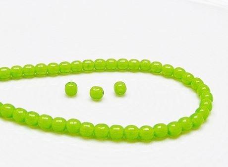 Picture of 4x4 mm, round, Czech druk beads, peridot opal green, translucent