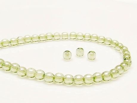 Picture of 4x4 mm, round, Czech druk beads, transparent, celadon green luster