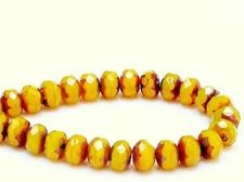 Picture of 6x8 mm, Czech faceted rondelle beads, warm opal yellow, translucent, travertine