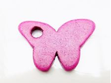 Picture of 35x23,5 mm, Greek ceramic butterfly pendant, ultramarine purple pink, matte