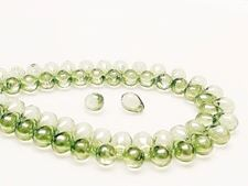 Picture of 5x7 mm, Czech druk beads, drops, transparent, celadon green luster