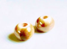 Picture of 12x12 mm, Greek ceramic round beads, iced coffee brown enamel, twice kilned