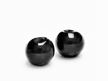Picture of 12x12 mm, Greek ceramic round beads, jet black enamel