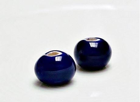 Picture of 12x12 mm, Greek ceramic round beads, navy blue enamel