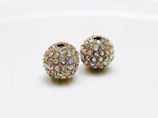 Picture of 10x10 mm, round, alloy beads, gold-plated, AB coated pavé crystals, 2 pieces