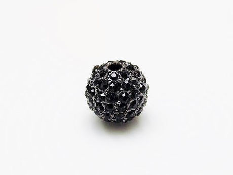 Picture of 10x10 mm, round, alloy beads, gunmetal-plated, black pavé crystals, 2 pieces