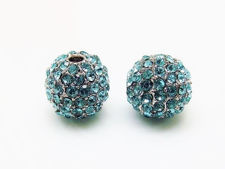 Picture of 10x10 mm, round, alloy beads, rhodium-plated, turquoise blue pavé crystals, 2 pieces