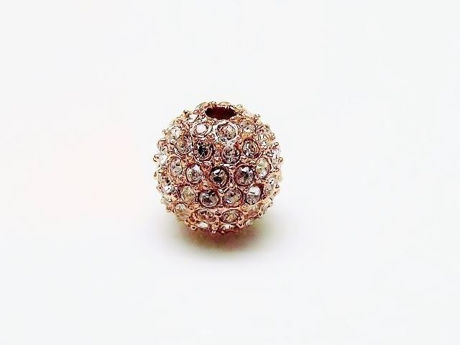 Picture of 10x10 mm, round, alloy beads, rose gold-plated, clear pavé crystals, 2 pieces
