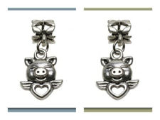 Picture of 6x4 mm, tube beads and charm, alloy, silver-plated, piggy love, 2 pieces