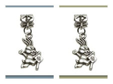 Picture of 6x4 mm, tube beads and charm, alloy, silver-plated, lucky rabbit, 2 pieces