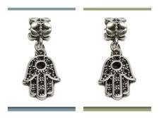 Picture of 6x4 mm, tube beads and charm, alloy, silver-plated, Hamsa, evil eye, 2 pieces