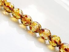 Image de 8x8 mm, perles à facettes tchèques rondes, cristal, transparent, picasso, pré-enfilé