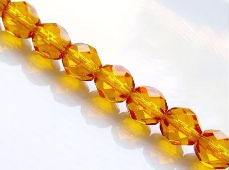 Image de 8x8 mm, perles à facettes tchèques rondes, jaune ambre, transparent, pré-enfilé