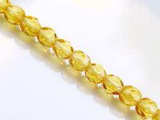 Image de 4x4 mm, perles à facettes tchèques rondes, jaune miel, transparent, pré-enfilé
