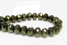 Picture of 6x8 mm, Czech faceted rondelle beads, deep moss green, opaque, full mirror