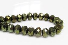 Image de 6x8 mm, perles à facettes tchèques rondelles, vert mousse profond, opaque, miroir complet