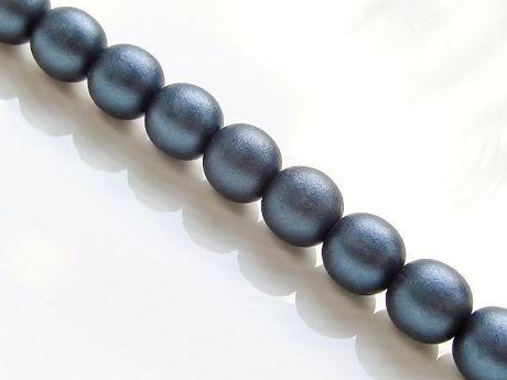 Image de 10x10 mm, rondes, perles de verre pressé tchèque, noires, opaques, finition satinée bleu foncé, pré-enfilé, 20 perles