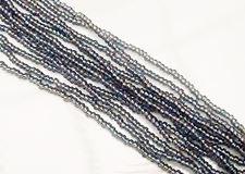 Afbeelding van Tsjechische rocailles, maat 11/0, voor-geregen, diamant blauw zwart, AB