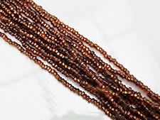 Picture of Czech seed beads, size 11/0, pre-strung, topaz brown, silver-lined