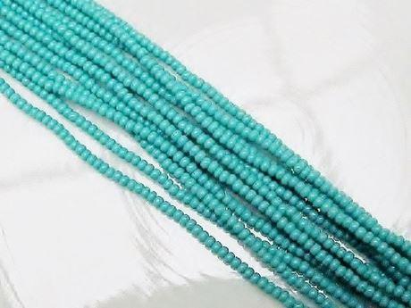 Image de Perles de rocailles tchèques, taille 11/0, pré-enfilé, vert turquoise, opaque
