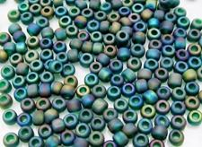 Picture of Japanese seed beads, size 8/0, peacock emerald green, frosted, AB