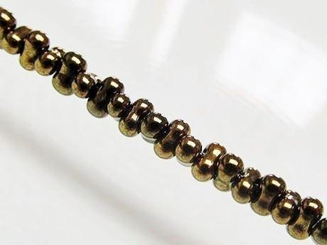 Image de 2x4 mm, perles rocaille japonaises en forme d'arachide, opaque, bronze, métallique