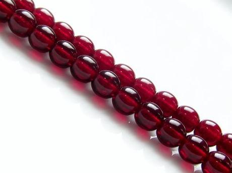 Picture of 4x4 mm, round, Czech druk beads, garnet red, transparent, pre-strung, 114 beads