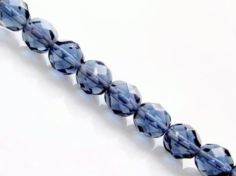 Picture of 6x6 mm, Czech faceted round beads,  Montana blue, transparent, pre-strung