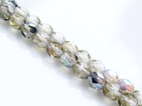 Picture of 4x4 mm, Czech faceted round beads, smoke grey, transparent, AB finishing, pre-strung