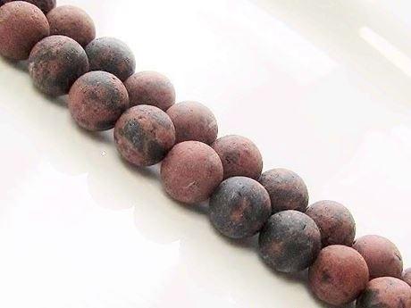 Afbeelding van 8x8 mm, rond, edelsteen kralen, zwart gevlekte bruine jaspis, natuurlijk, mat