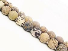 Picture of 8x8 mm, round, gemstone beads, Chinese painting stone, natural, frosted