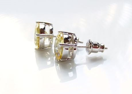 """Picture of """"Brilliant cut"""" modern stud earrings, sterling silver, round cubic zirconia, large, 9 mm, yellow"""