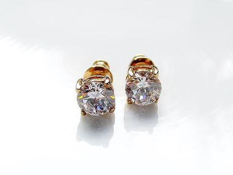 Image de Clous d'oreilles, taille «rond brillant», argent sterling, doré, zircone cubique ronde, small, 6 mm