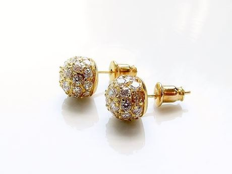 "Picture of ""Shamballa"" stud earrings, sterling silver, gold-plated,  pavé crystals, 9 mm"