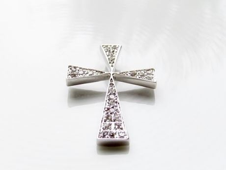 "Picture of ""Modern Byzantine Cross"" slide pendant in sterling silver inlaid with round cubic zirconia"