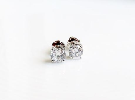 """Image de Clous d'oreilles, """" taille rond brillant"""", argent sterling, zircone cubique ronde,small, 6 mm"""