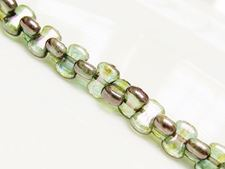Picture of 6x8 mm, CoCo, Czech druk beads, transparent, light turquoise blue luster, green picasso