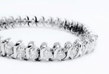 "Picture of ""Dashing Zirconia"" wide tennis bracelet in sterling silver with round cubic zirconia"