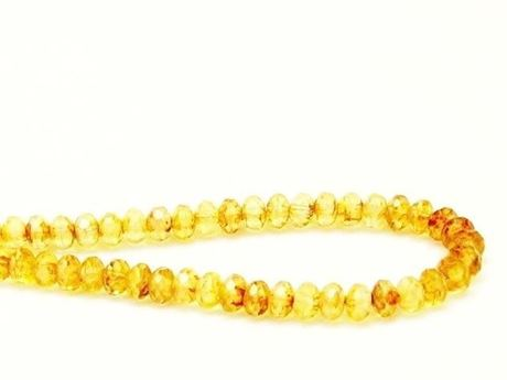 Picture of 3x5 mm, Czech faceted rondelle beads, lemon yellow, translucent, picasso