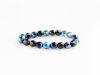 Image de 3x3 mm, perles à facettes tchèques rondes, noires, opaques, lustrées iris bleu