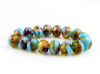 Picture of 6x8 mm, Czech faceted rondelle beads, Colorado topaz brown, transparent, opaline blue-green finishing, opaque