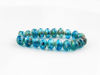 Picture of 3x5 mm, Czech faceted rondelle beads, shades of deep sky blue and turquoise blue, transparent, dark picasso