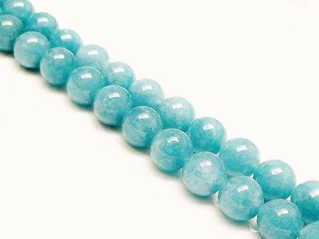 Picture of 8x8 mm, round, gemstone beads, sponge quartz, sinbad blue