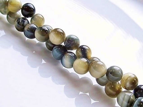 Picture of 6x6 mm, round, gemstone beads, tiger eye, butter yellow and grey blue