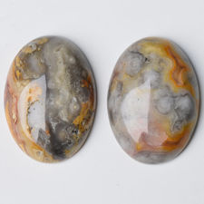 Picture of 13x18 mm, oval, gemstone cabochons, crazy lace agate, natural