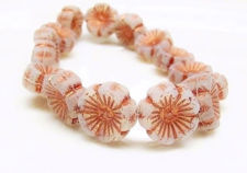 Picture of 14x14 mm, Czech druk beads, Hawaiian flower, glacier grey, matte, rose gold patina