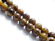 Picture of 8x8 mm, round, gemstone beads, golden tiger iron jasper, natural